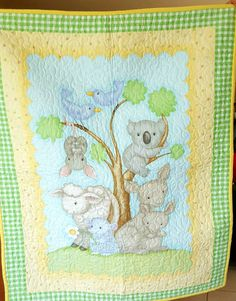 Baby Cot Quilt 'Outback' delightful fabric depicting Australian ... : cot quilt panels - Adamdwight.com