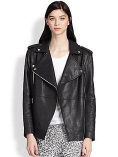 Elizabeth and James Renley Leather Motorcycle Jacket