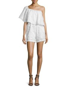 One-Shoulder Spot Fringe Romper, White at CUSP.
