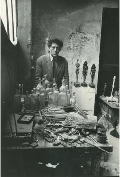 Photo by Sabine WEISS (b.1924), 1954,  Alberto Giacometti in his atelier.