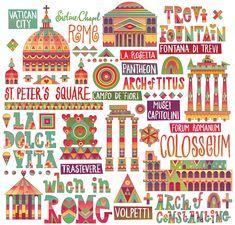 Travel infographic Rome City Map by Matt Lyon Rome Travel, Travel Maps, Travel Posters, Travel Logo, Rome Map, Rome City, Popular Art, Illustration, City Maps