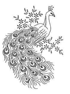 Free peacock embroidery pattern from Vintage Spice and Everything Nice