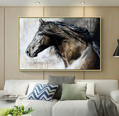 White Horse Painting, Horse Canvas Painting, Canvas Painting Tutorials, Horse Paintings, Vintage Horse, Retro Vintage, Cowgirl Bedroom, Poster Retro, Barn Apartment