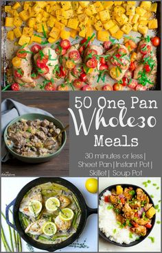 Whether you are following a Whole30 diet, or are just looking for some healthy dinner options, you'll love this round-up of simple dinner recipes made in one pan, and in less than 30 minutes! #onepandinners #healthydinner ##whole30dinner #skilletdinner #instantpotdinner #paleoinstantpot #whole30instantpot #sheetpandinner