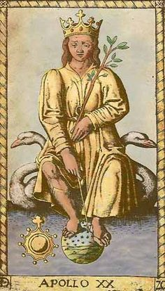 Apollo - XX of Mantegna Tarot:Apollo - XX -God of Music, Poetry &  the Arts:  Apollo, one of the most versatile gods of Greek mythology, was considered the leader of the muses  &  the director of their choir.