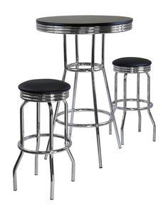 SUMMIT 3-Pc Round Table with two Swivel Barstools Pub Set Black/Chrome