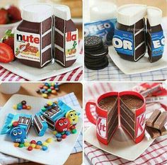 I want the Nutella one.I wonder if, like, the frosting tastes like Nutella.I don't usually like cake all that much, but if it tastes like Nutella I'll eat the whole thing. Crazy Cakes, Fancy Cakes, Cute Cakes, Mini Cakes, Yummy Cakes, Sweet Cakes, Beautiful Cakes, Amazing Cakes, Best Cake Ever