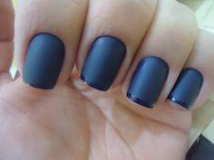 nail blue matte polish