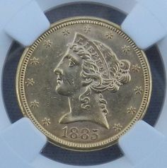 1885-S $5 Liberty Head Half Eagle Gold PCGS MS61 Coin Five Dollar  * NGC MS61 Mint State. $650.00 Free Shipping