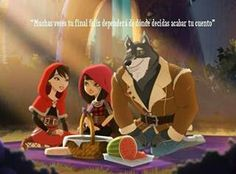 "Ever After High- Cerise Hood on a family picnic with Red Riding Hood and The Wolf (mom and dad). Translated: ""Sometimes your happy ending depends more on where and how YOU decide to end your fairytale."""