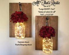 Large Lighted Mason Jar Sconces, Mason Jar Sconces, Set of 2 Hanging Sconces, Mason Jar Decor, Rustic Home Decor, Sconces with Hydrangeas