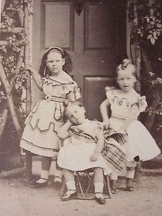 Darling-Children-at-House-Door-in-Pretty-Dresses-Tartan-Sash-CDV-Photo-Bourne