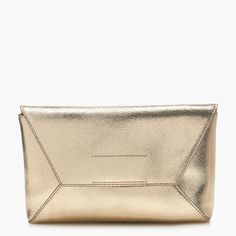 J.Crew Valentine's Day Shop: women's leather envelope clutch in crackled gold foil.
