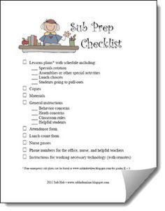 Sub Prep Checklist and other ways to prepare for a sub from Rachel Friendrich of the Sub Hub