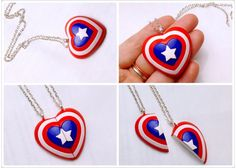 Captain America & Winter Soldier's arm BFF Pendant / Heart Necklace Set / Friendship Key Chain / Brooch / Made to order Polymer Clay Projects, Polymer Clay Charms, Polymer Clay Art, Diy Clay, Polymer Clay Jewelry, Clay Crafts, Geek Jewelry, Jewelry Crafts, Bohemian Jewelry