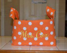 Orange with White Polka Dots and Chevron Gift Basket