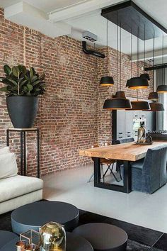 bw + bricks dining room rustic industrial decor #loft #design