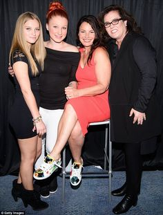 Playing happy families: Rosie O'Donnell reunited with estranged daughter Chelsea (L) as she posed with her younger girl Vivienne and Fran Drescher at the latter's cabaret cruise in New York 20 Jun 2016