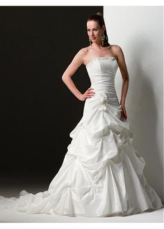 ELEGANT EXQUISITE TAFFETA WEDDING DRESS LACE BRIDESMAID PARTY BALL EVENING GOWN IVORY WHITE FORMAL PROM BRIDAL