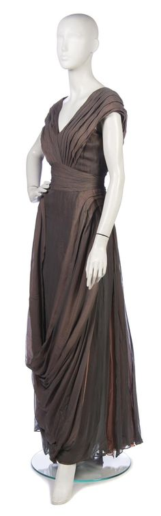 1930's Jeanne Paquin Gray and Coral Chiffon Evening Gown - @~ Watsonette