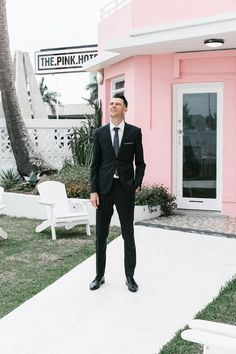 Polka Dot Wedding, Mod Wedding, Groom Attire, Groom And Groomsmen, Pink Hotel, Hugo Boss Suit, Family Presents, Vintage Weddings