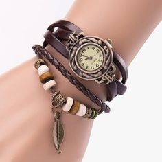 1.36$  Watch more here - BAOLANDE2016 Hot Sale Women Girl Vintage Watches, Bracelet Wristwatches leaf Pendant Coffee Good-looking MA 20   #magazineonlinewebsite