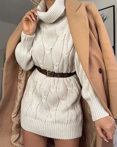 How beaut is this jumper dress? It's so warm and cosy! 😍 also say hello to my new LV belt – obsessed! White Dress Outfit, White Sweater Dress, Sweater Dress Outfit, Dress Outfits, Knitted Jumper Outfit, Roll Neck Jumper Dress, Winter Sweater Dresses, Cable Knit Jumper, Dress Shirt