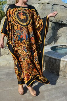 Black and Gold Designer Print Silk Caftan, Womens Silk Kaftan, Silk Beach Coverup, Silk Dress, Long Silk Dress - Fashion City Silk Kaftan, Caftan Dress, Silk Dress, African Print Fashion, African Fashion Dresses, Kaftan Style, Kaftan Tops, Ideias Fashion, Dress Long