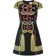 Peter Pilotto Rope embroidered and embellished cotton-canvas mini... (11,675 MXN) ❤ liked on Polyvore featuring dresses, multi, loose fitted dresses, rope dress, fitted mini dress, embellished short dress and multi-color dress