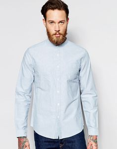Image 1 of ASOS Oxford Shirt In Blue With Grandad Collar In Regular Fit