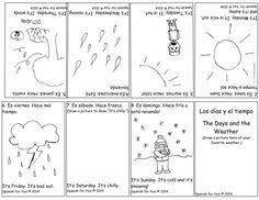 FREE Spanish Days and Weather Bilingual Booklet plus AUDIO. Cute little black and white booklet you just print for your kids.  Get it here: http://www.spanish-for-you.net/blog/free-spanish-for-you-days-and-weather-bilingual-booklet-plus-audio