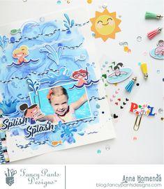 Summer layout | Fancy Pants Design | Anna Komenda | Pool Side Collection | Scrapbooking Layout ---------------------------------------------------- #scrapbook #scrapbooking #scrapbookinglayout #crafts #crafting #paper #DIY #paperart #layout #DT #beautiful #inspiration #ideas #creative #cutfile #waves #pool #flamingos #colourful #photo #summer #splishsplash #kids