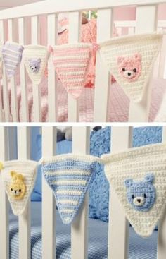Welcome Baby Bunting - Whether celebrating a newborn's arrival or momentous first birthday, this bunting lends an air of happiness to the occasion. For everyday decorating crochet your pennants in your nursery's colors and hang them at the window or on a wall.    For coordinating cube cozy and pillow see patterns LW3649 and LW3650.