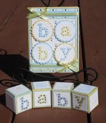 The actual baby blocks as invitations.