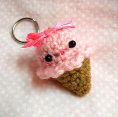 Strawberry Ice Cream Pink Amigurumi Crochet Keychain  by komoriuta, $6.00