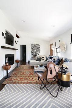 layered rugs, firepl