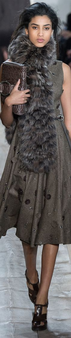 Love this look . FALL 2014 Ready-To-Wear featuring Michael Kors Fur Fashion, Grey Fashion, Couture Fashion, Love Fashion, Runway Fashion, High Fashion, Fashion Show, Womens Fashion, Fashion Design
