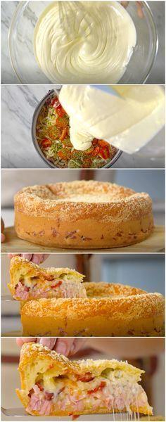 Torta de Pão de Queijo Recheada | Faço sempre na minha casa e todo mundo ama! (veja a receita passo a passo) #torta #pãodequeijo #tortadepãodequeijo #tastemade