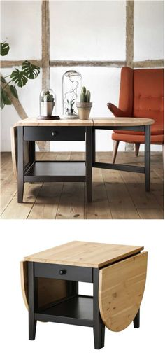 ARKELSTORP- made of solid, durable pine. The drop leaves enable you to make the table larger or smaller, according to your needs. The separate shelf  helps you keep your things organized and the surface clear.