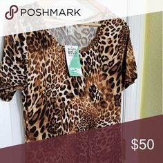 Honey and lace Auburn jaguar animal print unicorn Nwt size large Honey and Lace Dresses