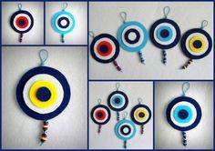 Felt Evel Eyes Keçe Nazar Boncukları Felt Diy, Felt Crafts, Diy Crafts, Mobiles, Felt Mobile, Hamsa Hand, Felt Fabric, Needle Felting, Fiber Art