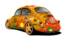 volkswagen bug painted hippie style