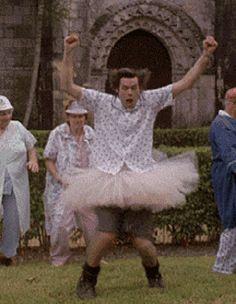 Ace Ventura Jim Carrey dancing with a tutu gif