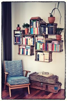 chair, crates, books...