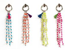 Ghungroo Key rings / Danglers - Metallic beads and mini bells, plastic colour bad, metallic dog hook + small silk tassel