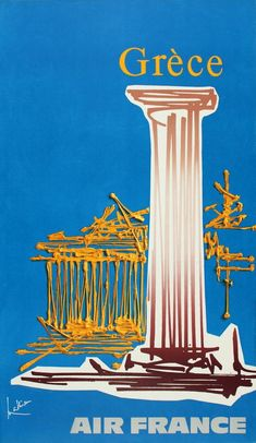 Vintage travel poster of Greece for Air France by Georges Mathieu, Retro Poster, Poster Vintage, Vintage Travel Posters, Vintage Ads, Air France, Retro Airline, Vintage Airline, Georges Mathieu, Old Posters
