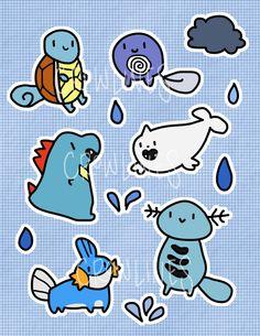 Water Pokemon Sticker Sheet by crowlines on Etsy