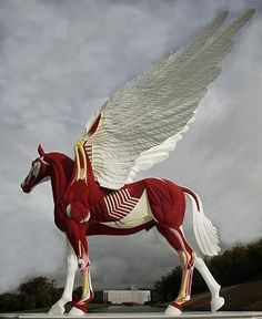 The newly unveiled Damien Hirst sculpture. Work. We were just watching Disney's Hercules and the Pegasus connection is crazy.