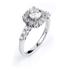 Sterling Silver Rhodium Plated and 5mm round Cubic Zirconia center stone Engagement Ring
