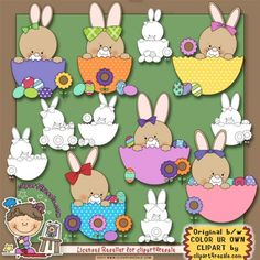 Bunny Easter Eggs 1 Clip Art & Digi Stamp Set by Alice Smith
